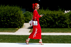 Street style, Anna Trevelyan arriving at Dior Fall-Winter 2018-2019 Haute Couture show held at Musee Rodin, in Paris, France, on July 2nd, 2018. Photo by Marie-Paola Bertrand-Hillion/ABACAPRESS.COM