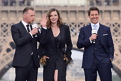 Simon Pegg, Rebecca Ferguson and Tom Cruise attending the Global Premiere of Mission: Impossible - Fallout at Palais de Chaillot in Paris, France on July 12, 2018. Photo by Aurore Marechal/ABACAPRESS.COM