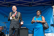 Councillor Christopher Wellbelove, Mayor of Lambeth with Emita Griffith during the Windrush70 celebration on the 23rd June 2018 in Brixton in the United Kingdom. (photo by Sam Mellish / In Pictures via Getty Images)