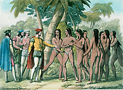 Hernando Cortez (Fernado Cortes - 1485-1547) Spanish conquistador who conquered Mexico, making contact with native Mexicans. Hand-coloured lithograph, 1827.