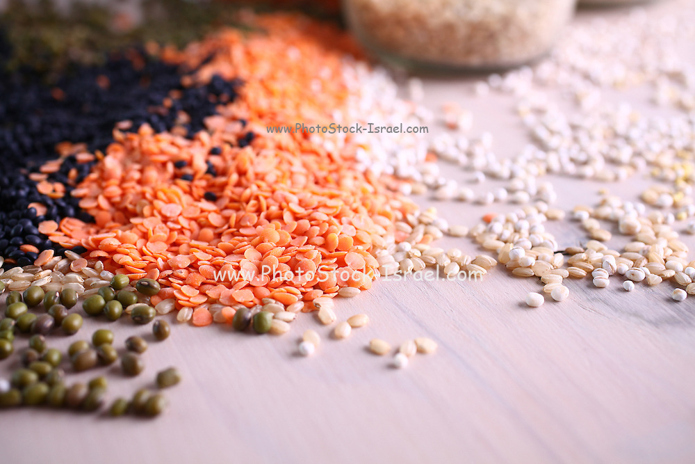 lentils and beans spread on a table top
