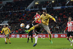 (L-R), Nick Viergever of PSV, Luigi Bruins of Excelsior during the Dutch Eredivisie match between PSV Eindhoven and sbv Excelsior at the Phillips stadium on December 07, 2018 in Eindhoven, The Netherlands