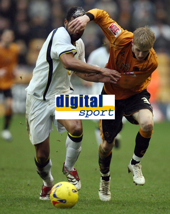 Photo: Rich Eaton.<br /> <br /> Wolverhampton Wanderers v Leeds United. Coca Cola Championship. 24/02/2007. Manuel Rui Marques left of Leeds is manhandled by Leeds Andy Keogh