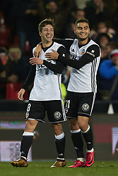 January 9, 2018 - Valencia, Valencia, Spain - Vietto (L) of Valencia CF celebrates after scoring with his teammate Andreas Pereira of Valencia CF during the Copa del Rey Round of 16, second leg game between Valencia CF and Las Palmas at Mestalla on January 9, 2018 in Valencia, Spain  (Credit Image: © David Aliaga/NurPhoto via ZUMA Press)