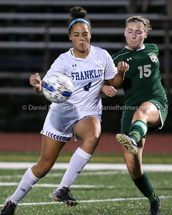 (10/19/17, FRANKLIN, MA) Franklin's Sabrina Addi steals the ball during the girls soccer game against Mansfield at Franklin High School on Thursday. [Daily News and Wicked Local Photo/Dan Holmes]