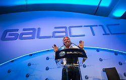 © London News Pictures. 11/07/2012. Farnborough, UK. Sir Richard Branson speaking at a press conference at Farnborough Airshow for the UK unveiling of new Virgin Galactic aircraft and spacecraft products on July 11, 2012.  FIA is a seven-day international trade fair for the aerospace industry which is held every two years at Farnborough Airport . Photo credit: Ben Cawthra/LNP.