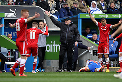 Cardiff City Manager, Russell Slade appeals with his players - Photo mandatory by-line: Robbie Stephenson/JMP - Mobile: 07966 386802 - 04/04/2015 - SPORT - Football - Reading - Madejski Stadium - Reading v Cardiff City - Sky Bet Championship