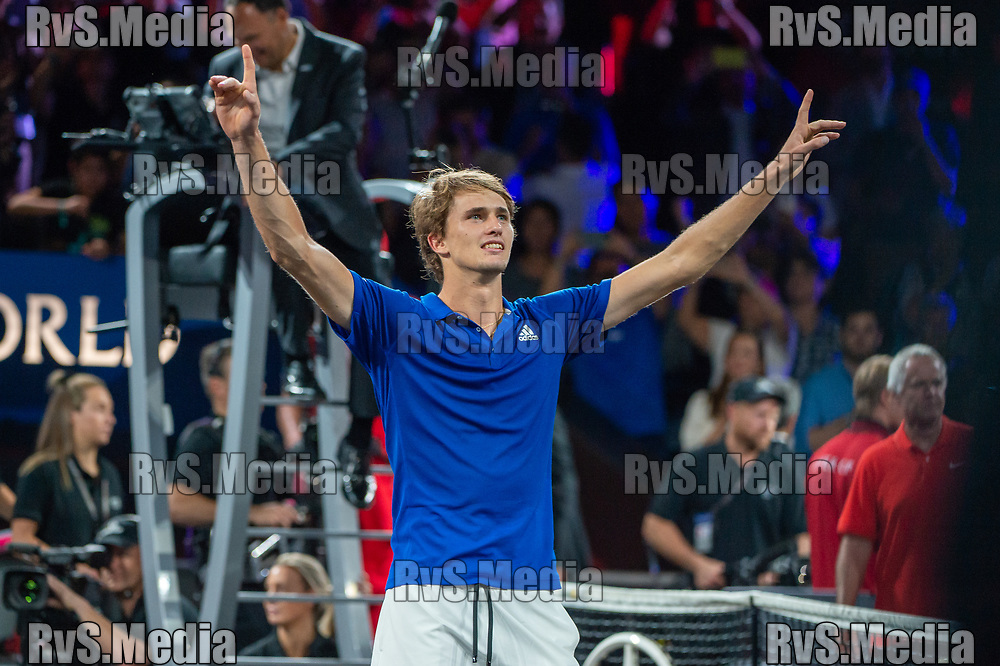 GENEVA, SWITZERLAND - SEPTEMBER 22: Alexander Zverev of Team Europe celebrates the win during Day 3 of the Laver Cup 2019 at Palexpo on September 20, 2019 in Geneva, Switzerland. The Laver Cup will see six players from the rest of the World competing against their counterparts from Europe. Team World is captained by John McEnroe and Team Europe is captained by Bjorn Borg. The tournament runs from September 20-22. (Photo by Robert Hradil/RvS.Media)
