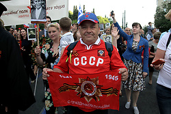 May 8, 2017 - Athens, Attica, Greece - Members of the Russian community march in central  Athens on May 9, 2017 marking the 72nd anniversary of the World War Two victory in Europe. (Credit Image: © Panayotis Tzamaros/NurPhoto via ZUMA Press)