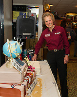 Penny Pitou celebrates her 40th year in business at Penny Pitou Travel during the Travel Trade Show at the Margate on Saturday afternoon.  (Karen Bobotas/for the Laconia Daily Sun)