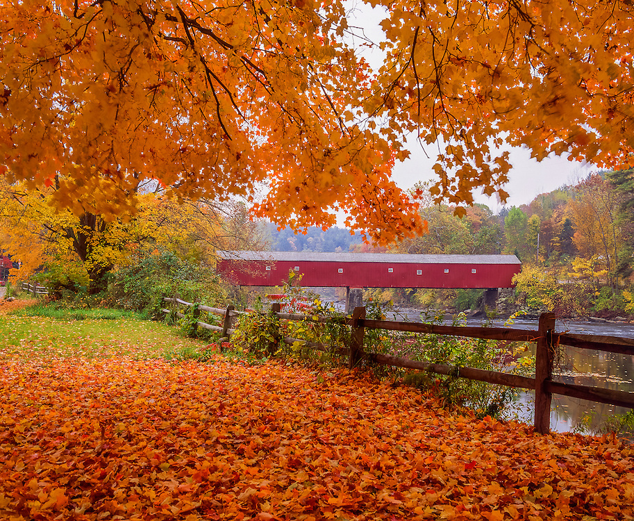 West Cornwall Covered Bridge, fall leaves & fence, Housatonic River, West Cornwall, CT