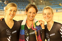 Joanne Kiesanowski (c) of New Zealand celebrates winning the silver medal with Rushlee Buchanan and Gemma Dudley during the women's scratch race final held at the velodrome at the Indira Gandhi Sports Complex in New Delhi, India on the 7 October 2010..Photo by:  Ron Gaunt/SPORTZPICS/PHOTOSPORT