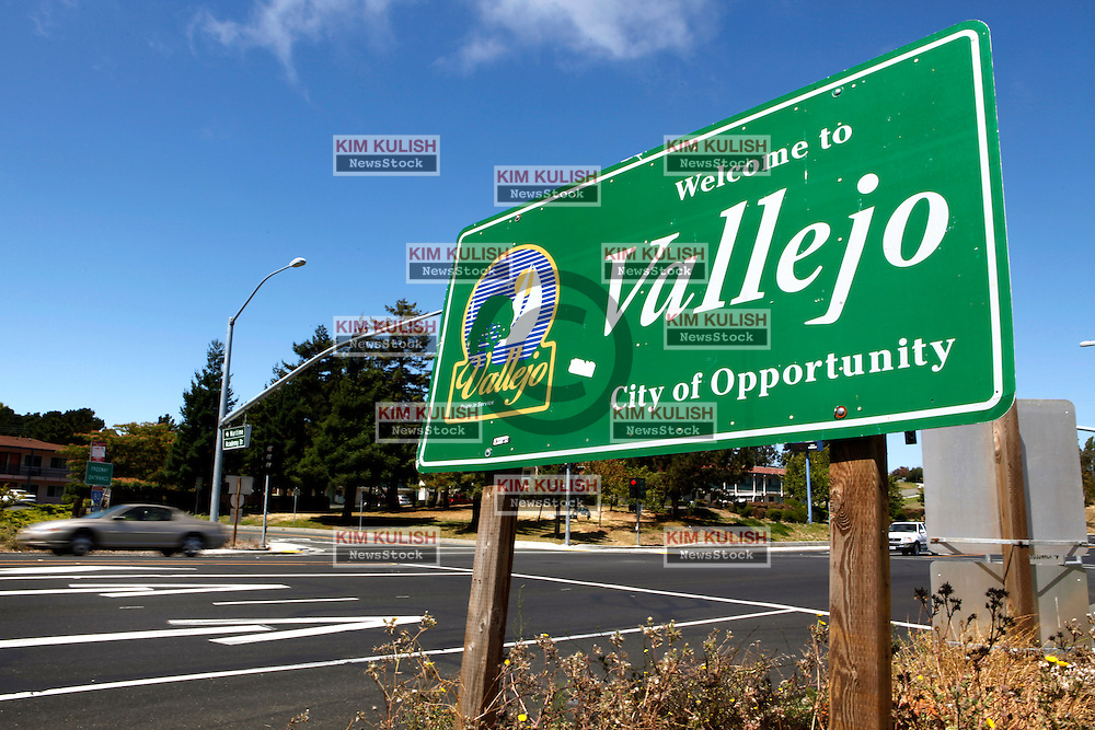 A welcome sign greets motorists to the city of Vallejo.  The city of Vallejo, California filed for bankruptcy protection in 2008 in attempt to deal with a ballooning budget deficit caused by soaring employee costs and declining tax revenue.