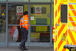©Licensed to London News Pictures 03/03/2020<br /> Lewisham, UK. Security at Lewisham Hospital A&E. A Chinese woman diagnosed with Coronavirus after getting an Uber to Lewisham hospital has been discharged after recovering. Photo credit: Grant Falvey/LNP