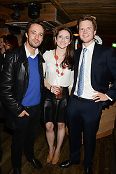 Left to right, JIMMY WALTERS, ALEXANDRA AMES and THOMAS JAMIE at 'Bodo's Schloss Goes Wild For Lewa' held at Bodo's Schloss, 2A Kensington High St, London W8 on 9th October 2013.