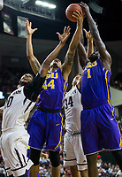 LSU forward Wayde Sims (44) grabs a round over Texas A&M center Tonny Trocha-Morelos (10) during the second half of an NCAA college basketball game Saturday, Jan. 6, 2018, in College Station, Texas. (AP Photo/Sam Craft)
