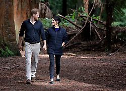 10 in series of 10. File photo dated 31/10/2018 of Harry and Maghan walking through a forest during a visit to Redwoods Tree Walk and Mountain Biking Showcase in Rotorua, New Zealand, on day four of the royal couple's tour of New Zealand.