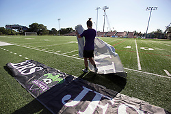 06 May 2016. New Orleans, Louisiana.<br /> New Orleans Jesters. Early morning training session for the NPSL team as they prepare for the opening game of the season at Pan American Stadium. The banners are rolled out for the first time this season.<br /> Photo; Charlie Varley/varleypix.com