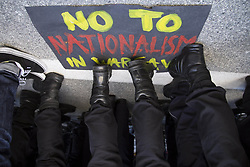 April 29, 2017 - Warsaw, Poland - ''No to Nationalism'' banner during blockade of ONR (National Radical Camp) march in Warsaw on April 29, 2017. (Credit Image: © Maciej Luczniewski/NurPhoto via ZUMA Press)