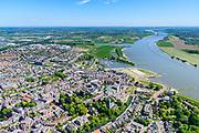 Nederland, Gelderland, Tiel, 13-05-2019; Stadscentrum van Tiel met Sint-Maartenskerk, gelegen aan rivier De Waal.<br /> City of Tiel, next to river Waal, branch of the Rhine.<br /> luchtfoto (toeslag op standard tarieven);<br /> aerial photo (additional fee required);<br /> copyright foto/photo Siebe Swart