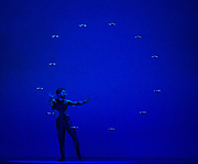Britain's Got Talent semi-finalists, Another Kind of Blue production<br /> 'Flirt with Reality'<br /> UK premiere <br /> At The Peacock, London, Great Britain <br /> 9th July 2019 <br /> Press photo call <br /> <br /> Dance meets cutting-edge drone technology <br /> <br /> Klevis Elmazaj in Airman <br /> <br /> <br /> Photograph by Elliott Franks