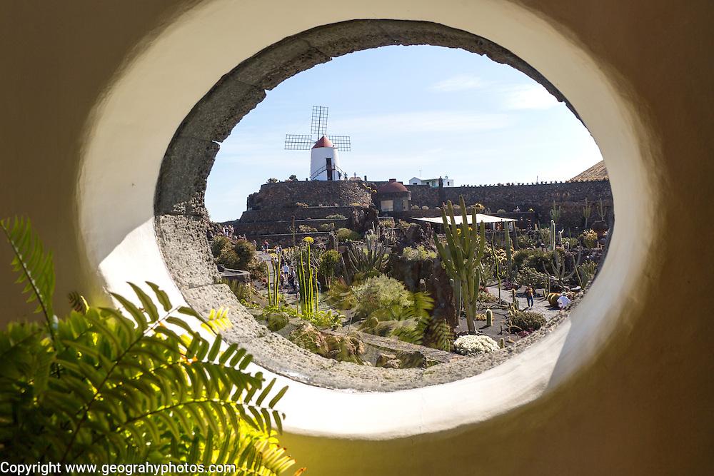 Cactus plants inside Jardin de Cactus designed by César Manrique, Guatiza, Lanzarote, Canary Islands, Spain.