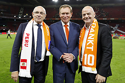 (L-R) KNVB chairman Michael van Praag, Minister for Medical Care and Sport Bruno Bruins, FIFA president Gianni Infantino during the International friendly match match between The Netherlands and Peru at the Johan Cruijff Arena on September 06, 2018 in Amsterdam, The Netherlands