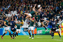 South Africa replacement Jan Serfontein and USA replacement Cam Dolan compete in the air for a high ball - Mandatory byline: Rogan Thomson/JMP - 07966 386802 - 07/10/2015 - RUGBY UNION - The Stadium, Queen Elizabeth Olympic Park - London, England - South Africa v USA - Rugby World Cup 2015 Pool B.