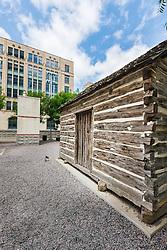 Cabin of Dallas founder John Neely Bryan (replica), Dealy Plaza,Dallas, Texas, USA.