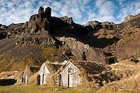 Húsin á Núpsstöðum. The houses at the old farm Nupsstadir, Iceland.