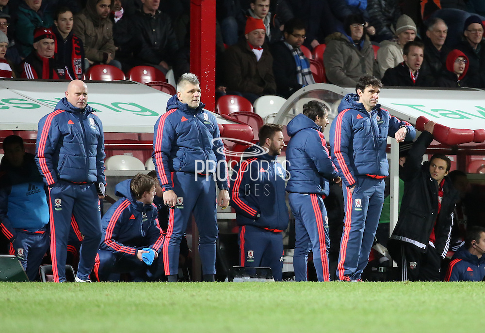 Middlesbrough head coach Aitor Karanka looking at his watch during the Sky Bet Championship match between Brentford and Middlesbrough at Griffin Park, London, England on 12 January 2016. Photo by Matthew Redman.