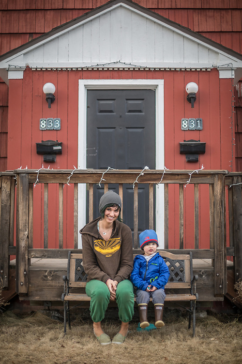 Keegan Richards and her son, Gustav in Anchorage's South Addition neighborhood