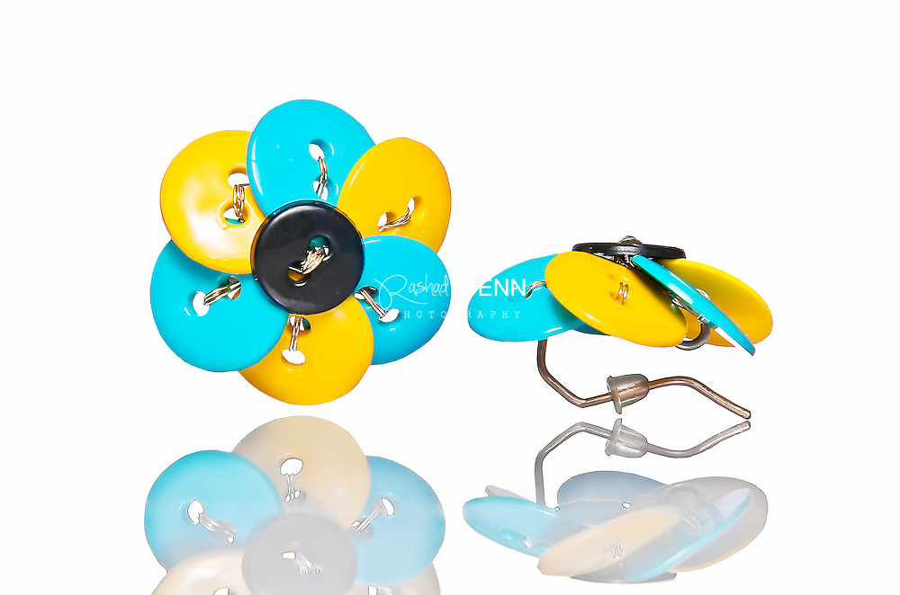 Bahamas product photography, Bahamian colored button ear ring