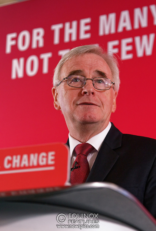 London, United Kingdom - 9 December 2019<br /> John McDonnell gives an economics speech in the run up to the general election 2019, on behalf of the Labour Party at Coin Street Community Builders, London, England, UK.<br /> (photo by: EQUINOXFEATURES.COM)<br /> Picture Data:<br /> Photographer: Equinox Features<br /> Copyright: ©2019 Equinox Licensing Ltd. +443700 780000<br /> Contact: Equinox Features<br /> Date Taken: 20191209<br /> Time Taken: 11211800<br /> www.newspics.com
