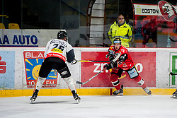 08.01.2017, Ice Rink, Znojmo, CZE, EBEL, HC Orli Znojmo vs Dornbirner Eishockey Club, 41. Runde, im Bild v.l. James Livingston (Dornbirner) Adam Hughesman (HC Orli Znojmo // during the Erste Bank Icehockey League 41th round match between HC Orli Znojmo and Dornbirner Eishockey Club at the Ice Rink in Znojmo, Czech Republic on 2017/01/08. EXPA Pictures © 2017, PhotoCredit: EXPA/ Rostislav Pfeffer