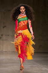 A model on the catwalk during the ASAI Fashion East Autumn/Winter 2017 London Fashion Week show at the Topshop Show Space, Tate Modern, London.