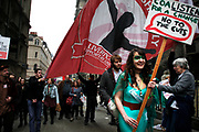 Peaceful demonstration in central London by protesters during the TUC union march against cuts, Saturday March 26th 2011. Around 400,000 people joined the TUC's March for the Alternative to oppose the coalition government's spending cuts. Teachers, nurses, midwives, NHS, council and other public sector workers were joined by students and pensioners to bring the centre of the capital to a standstill and to make their point that the current coalition government is making cuts too fast which they suggest will have a catastrophic effect on jobs and economic recovery.