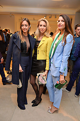 Left to right, FIORINA BENVENISTE SCHULER, SABINE GETTY and RACIL CHALHOUB at a private view of Bright Young Things held at the David Gill Gallery, 2-4 King Street, London on 19th April 2016.