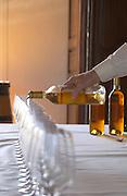 Wine tasting. Wine glasses. Chateau Guiraud, Sauternes, Bordeaux, France