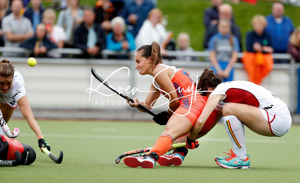 SCHIEDAM - Kelly Jonker (Ned)  tijdens een oefenwedstrijd tussen  de dames van Nederland en Belgie , in aanloop naar het  EK Hockey, eind augustus in Amstelveen. ANP KOEN SUYK