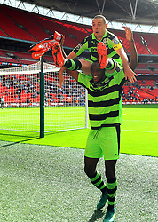 Shamir Mullings of Forest Green Rovers and Liam Noble of Forest Green Rovers celebrate after the full time whistle  - Mandatory by-line: Nizaam Jones/JMP - 14/05/2017 - FOOTBALL - Wembley Stadium- London, England - Forest Green Rovers v Tranmere Rovers - Vanarama National League Final