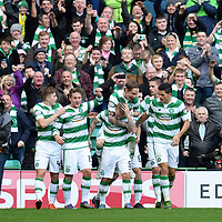 31/10/15 LADBROKES PREMIERSHIP<br /> CELTIC v ABERDEEN<br /> CELTIC PARK - GLASGOW<br /> Celtic's Leigh Griffiths (3rd from left) celebrates his second goal of the game with his team-mates