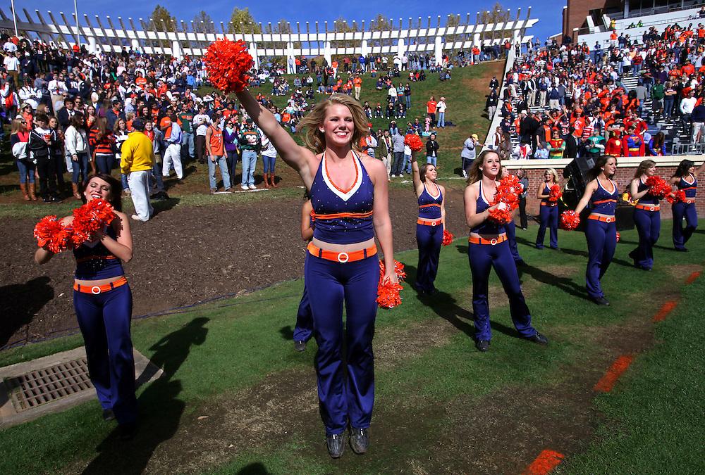 Oct 30, 2010; Charlottesville, VA, USA;  Virginia Cavalier cheerleaders cheer on the fans during the game against the Miami Hurricanes at Scott Stadium. Virginia won 24-19. Mandatory Credit: Andrew Shurtleff