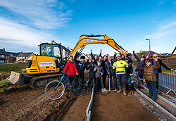East Lothian Core Paths, Gullane, East Lothian, Scotland, United Kingdom, 07 February 2020. Construction has started on a pedestrian and cycle path to connect Gullane and West Fenton villages. The longest running campaign of its kind in Scotland, activists have lobbied for 15 years for an off-road route, away from a dangerous main road, to link Gullane and Drem. After reaching agreement with landowners, housing company CALA Homes is funding a one mile section of the path between Gullane and West Fenton. Pictured: Local resident and cyclists with Jordan McKenna, Cala site manager.<br /> Sally Anderson | EdinburghElitemedia.co.uk