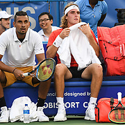 NICK KYRGIOS  and STEFANOS TSISPAS play doubles at the Rock Creek Tennis Center.