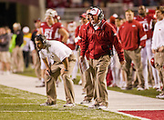 Nov 5, 2011; Fayetteville, AR, USA;  Arkansas Razorback head coach Bobby Petrino reacts to a call during the second half of a game against the South Carolina Gamecocks at Donald W. Reynolds Stadium.  Mandatory Credit: Beth Hall-US PRESSWIRE