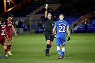 Peterborough United midfielder Marcus Maddison (21) is shown the yellow card for diving during  the The FA Cup 2nd round match between Peterborough United and Bradford City at London Road, Peterborough, England on 1 December 2018.