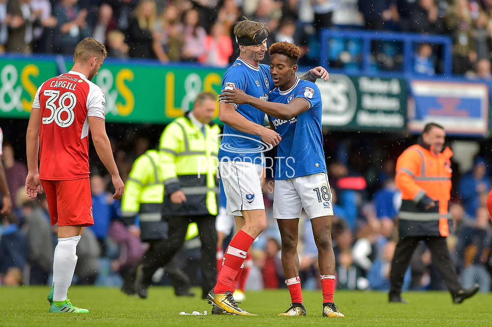 Portsmouth Forward, Jamal Lowe (18) scorer of 2 goals celebrates at full time with Portsmouth Forward, Oliver Hawkins (9) during the EFL Sky Bet League 1 match between Portsmouth and Fleetwood Town at Fratton Park, Portsmouth, England on 16 September 2017. Photo by Adam Rivers.