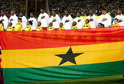 Players of Ghana listening to the national anthem during the 2010 FIFA World Cup South Africa Quarter Finals football match between Uruguay and Ghana on July 02, 2010 at Soccer City Stadium in Sowetto, suburb of Johannesburg. Uruguay defeated Ghana after penalty shots. (Photo by Vid Ponikvar / Sportida)