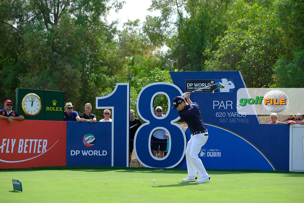 Brandon Grace (RSA) on the 18th tee during the 3rd round of the DP World Tour Championship, Jumeirah Golf Estates, Dubai, United Arab Emirates. 17/11/2018<br /> Picture: Golffile   Fran Caffrey<br /> <br /> <br /> All photo usage must carry mandatory copyright credit (© Golffile   Fran Caffrey)